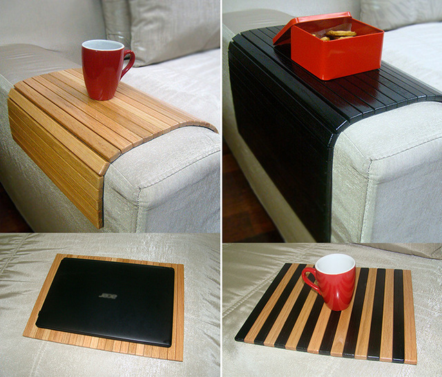 Sofa Tray Table Natural Wood Coffee Armrest Cover For