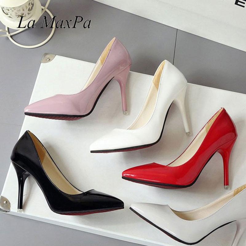 La MaxPa Sexy High Heels Shoes Woman Pumps Black Pink Red Grey White High  Heels Shoes f224f98b3152