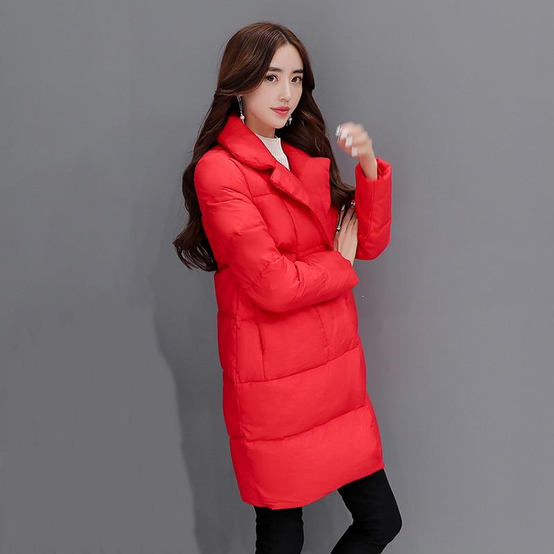 2016 Yeni Kırmızı Toplama Yaka Aşağı Pamuk Coat Kore Kış kadın Ceket Zarif Kalın Sıcak Ceket Yüksek Kalite Büyük Boy D0864