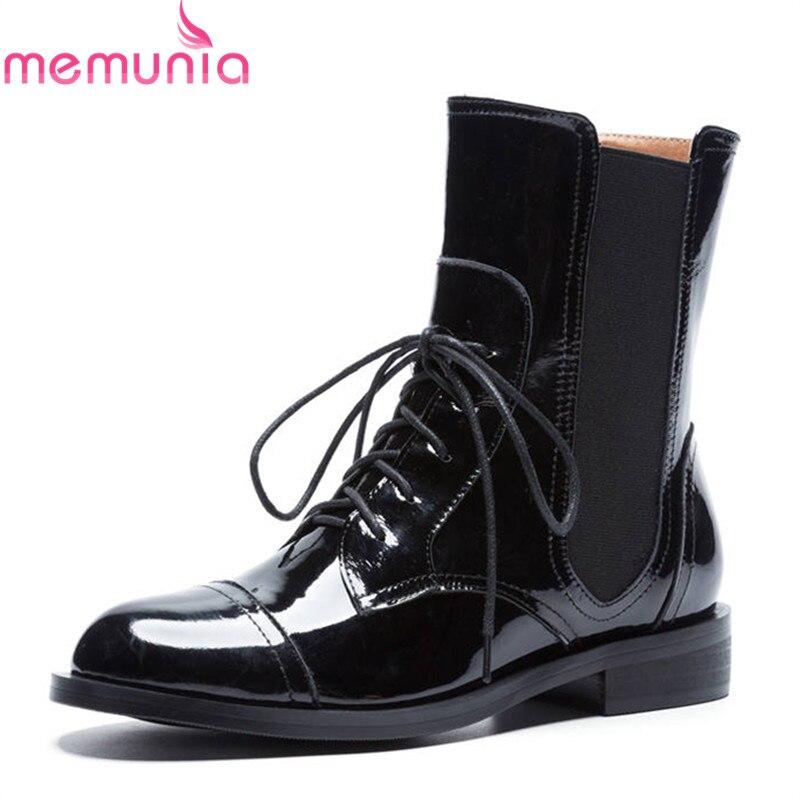 Martin Automne Memunia Cheville Rond Femmes Chaussures 2018 Top Qualité En Femme Verni Cuir Confortable Noir Up Bout Bottes Lace Mode rgn6FgqwaY
