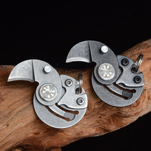 Mini Pocket Knives Outdoor Self-defense EDC Tools Coin Round Steel Folding Blade Knife Portable Gadget KeyRing Pendant Hand Tool цена