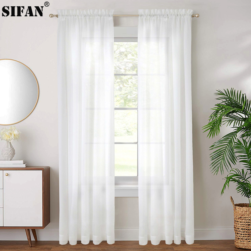 Modern White Tulle Sheer Curtains For Bedroom Living Room Window Organza Thickened Tulle Curtains Fabric Blinds Custom Made