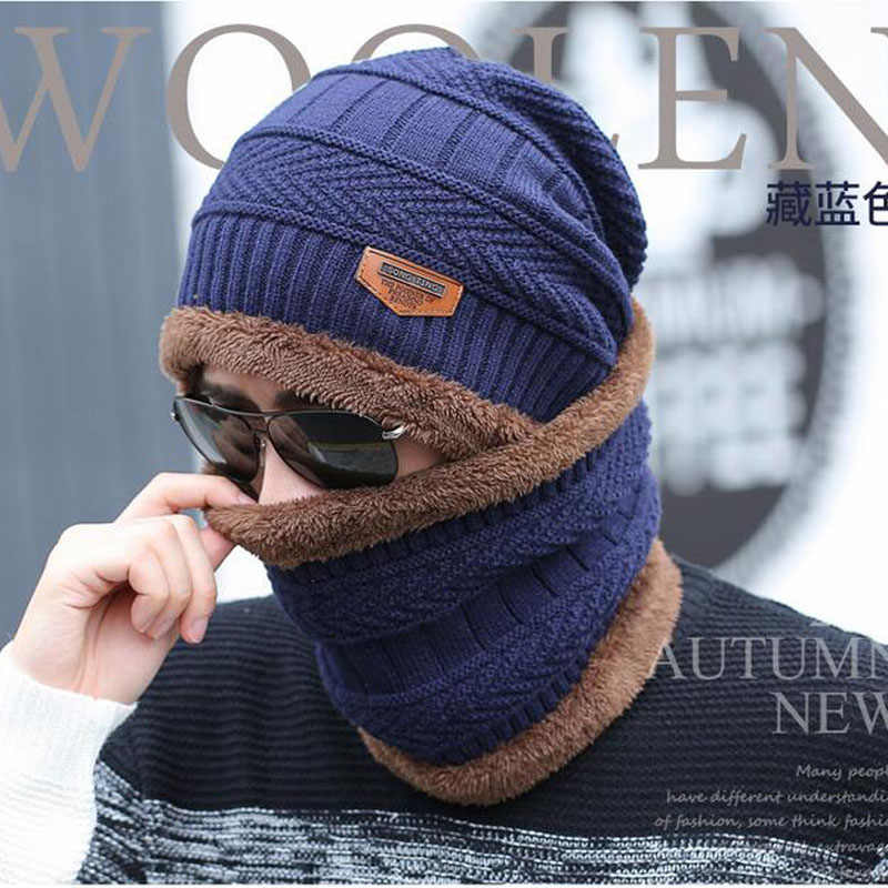 cd4c68daf5d ... 2017 Men Warm Hats Cap Scarf Winter Hat Knitting for men Caps Lady Beanie  Knitted Hats ...