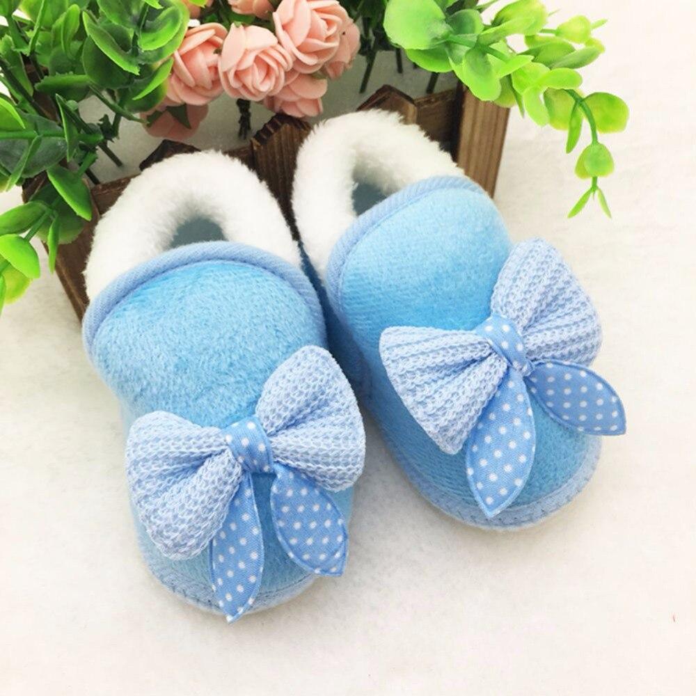 Cute Newborn Infant Girls Winter Warm New Bow Snow Shoes Baby Soft Bottom Walker Crib Boots Newborns Toddler Booties