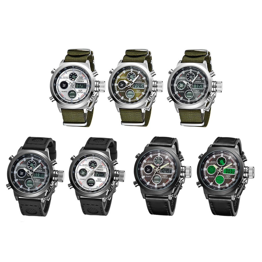 Brand OHSEN Mutifuctionla Quartz Digital Sports Watches Men Leather Nylon LED Military Army Waterproof Wristwatch Men's Watch ohsen watches brand new luxury men swimming digital led quartz watch outdoor sports watches military waterproof man clock rubber