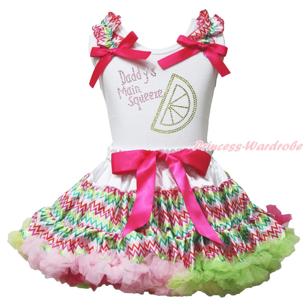 Valentine Daddy Main Squeeze White Top Rainbow Chevron Girl Skirt Outfit 1-8Year valentine daddy main squeeze white top pink floral girl skirt outfit set 1 8year
