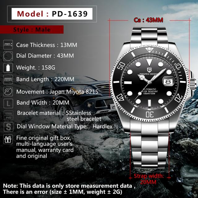 PAGANI Design Brand Luxury mężczyźni zegarki automatyczny czarny zegarek mężczyźni stal nierdzewna wodoodporny biznes sportowy zegarek mechaniczny