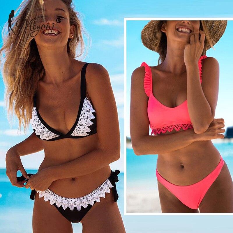 Miyouj Lace Bikini Women Bathing Suit Brazilian Swimsuit Biquinis Feminino 2019 Mujer Black Ladies Micro Bikini Set Shipping