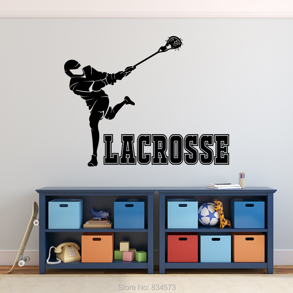 Teenage boys room wall art - Lacrosse Sport Teens Boys Silhouette Wall Art Stickers Decal Home Diy Decoration Wall Mural Removable Room