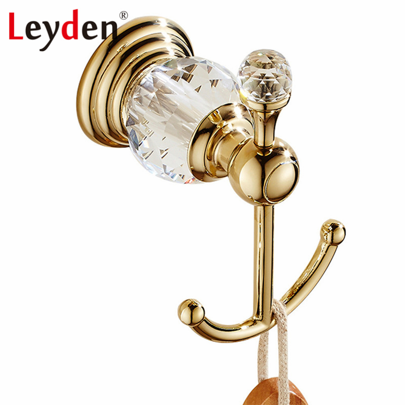 Leyden Luxury Bathroom Accessories Clothes Hooks Crystal Robe Hook Gold Wall Mounted European Towel Hardware