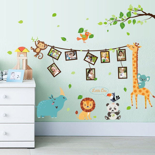 Amazing New Arrival Amazing Cute Cartoon Animal School Stickers Removable Kids  Bedroom Wall Decals Diy Photo Frame
