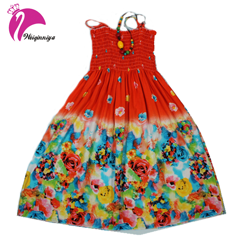 Summer 2017 Baby Girls Beach Dress New Fashion Bohemian Style Beading Necklace Sleeveless Flower Beach Dress For Girls Clothes