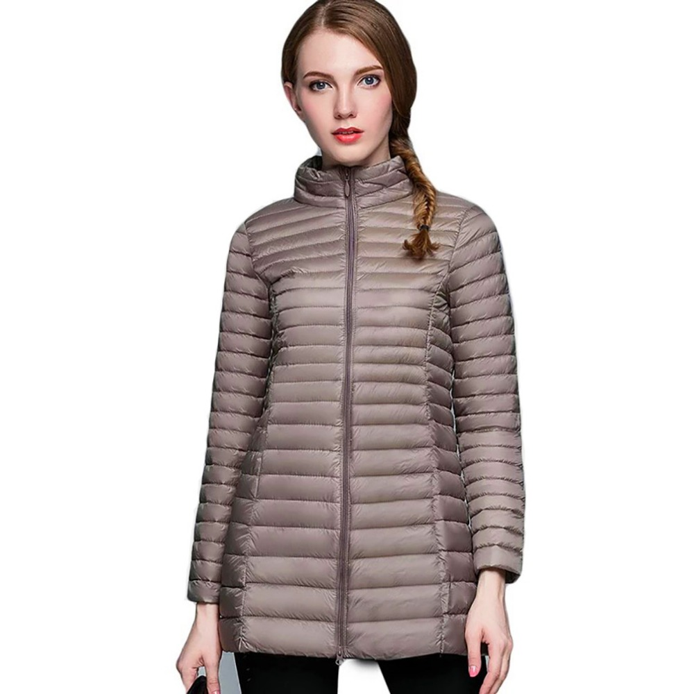 Fashion Winter Women Midi Length Winter   Down     Coat   90% White Duck   Down   Jacket Female warm Outerwear Slim Parka Jacket Long   Coats