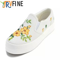 YJRVFINE Breathable Slip On Flower Female Graffiti Canvas Shoe Lower Style Of Platform Shoes Good Luck