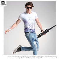 Rocksir Brand Men T shirt Summer Short-sleeved O-neck Print Slim Casual Cotton T-shirts Tops Tee Plus Size Free Shipping
