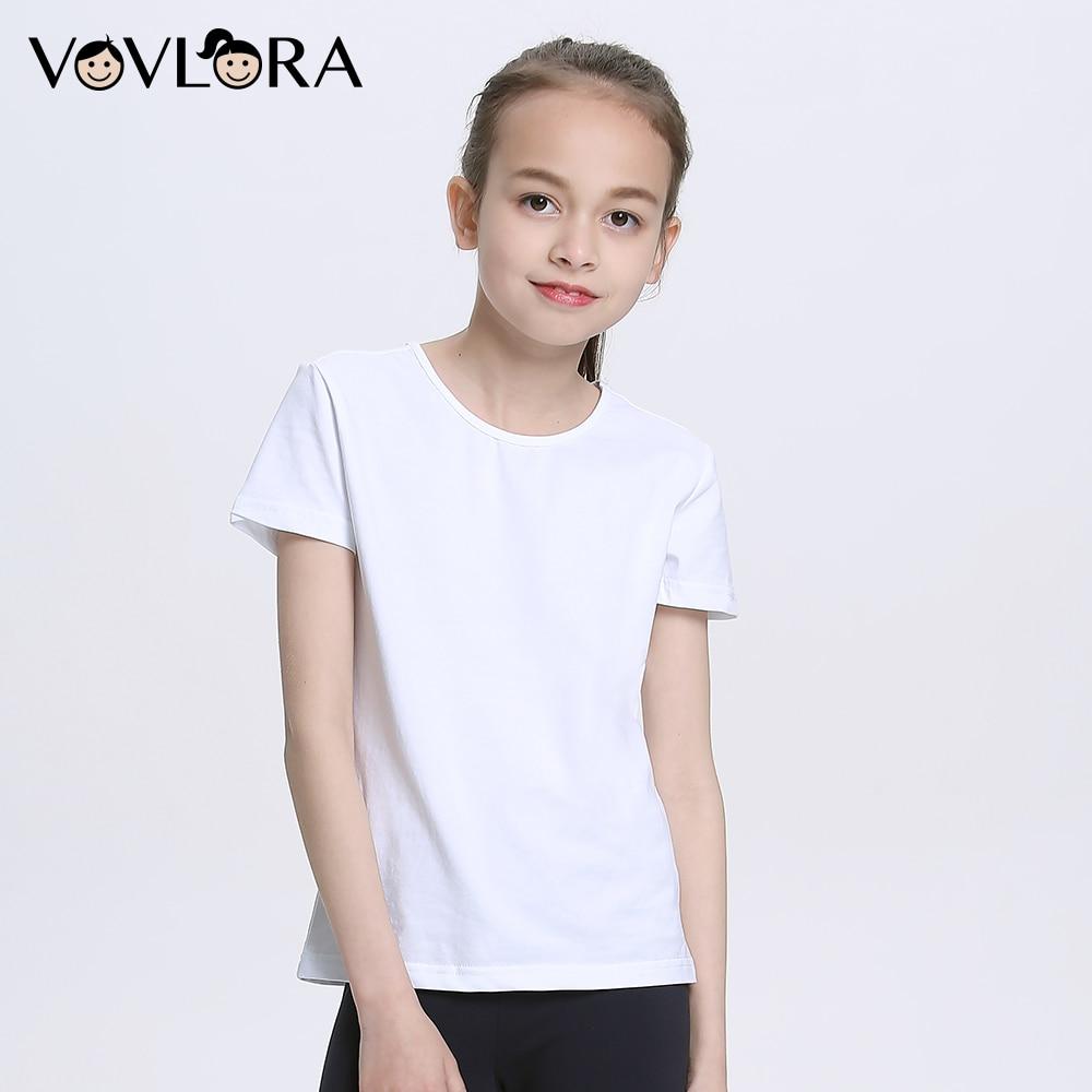 Summer White T Shirts Cotton Girls Sport T Shirt O Neck Short Sleeve Kids School Tee Knitted 2018 Size 7 8 9 10 11 12 13 14 Year