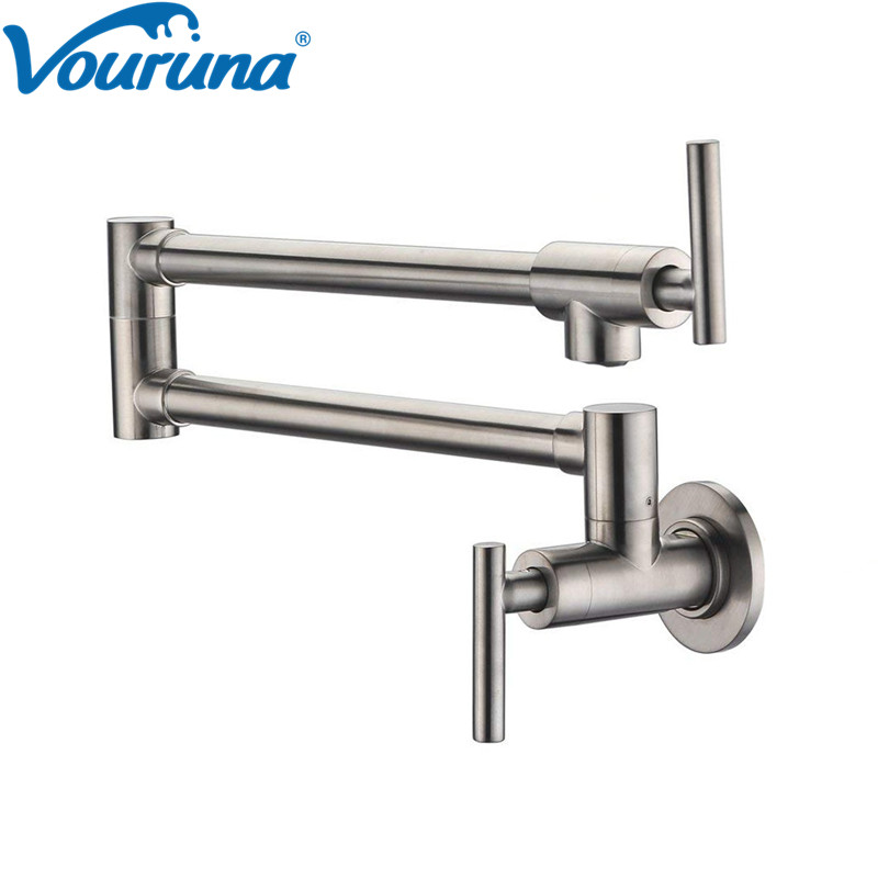 VOURUNA Pot Filler Faucet Kitchen Single Cold Tap Only Wall Mount Dual Swing Joints Design Brushed Nickel