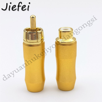 50pcs Male or Female RCA Plug Audio Video Locking Cable Connector Gold Plated soldering
