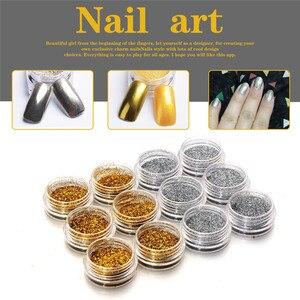 OutTop Glitter Gold Silver Nail Art Glitter Powder Dust Acrylic UV Gel Tips Set DIY best seller#30