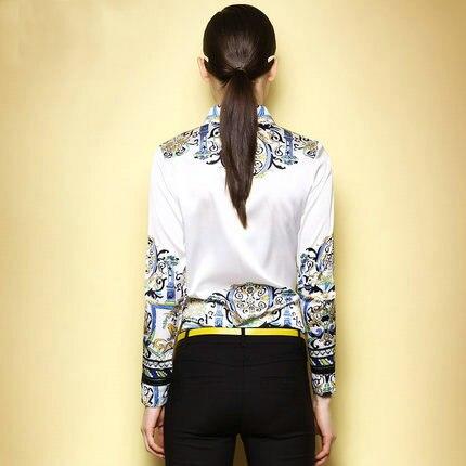 2015 camisas da forma original Do major suit Simples das mulheres imprimiram a camisa moda Ms longo sleeved camisa camisas femininas - 2