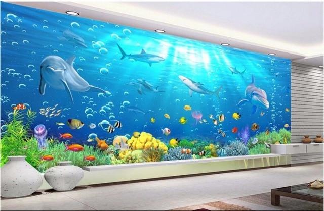 Benutzerdefinierte Mural Foto 3d Tapeten Shark Dolphins Korallenriffe  Wohnzimmer Zimmer Dekor Malerei 3d Wandbilder Wallpaper Für