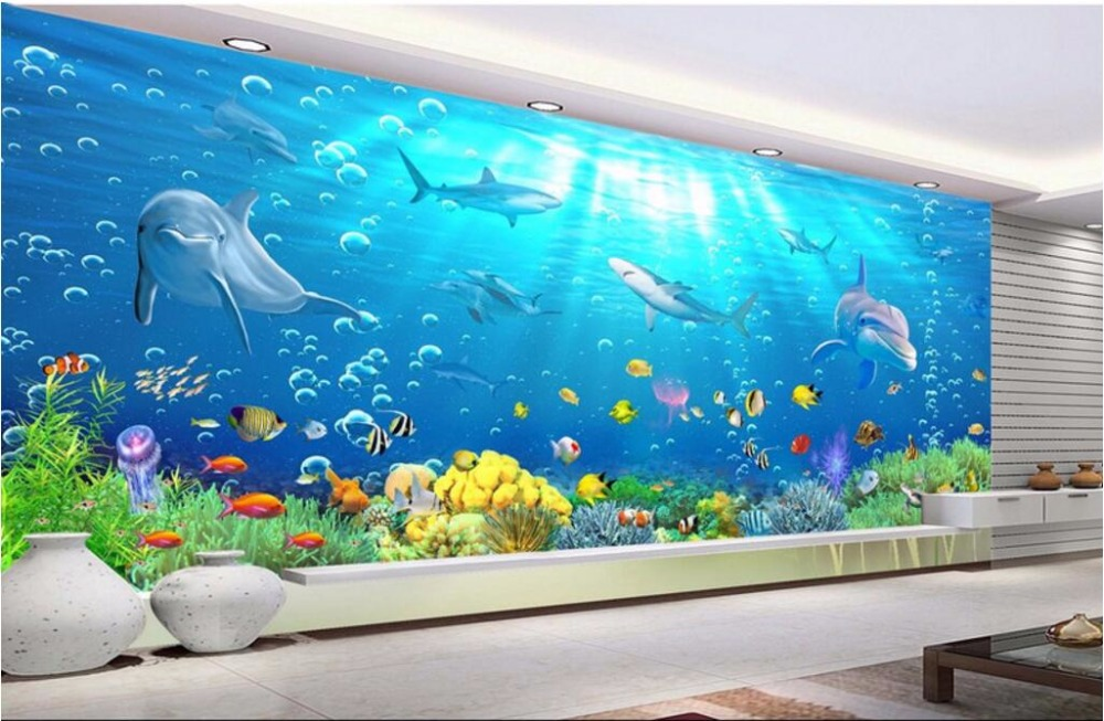 Custom mural photo 3d wall paper shark dolphins coral for Custom mural painting