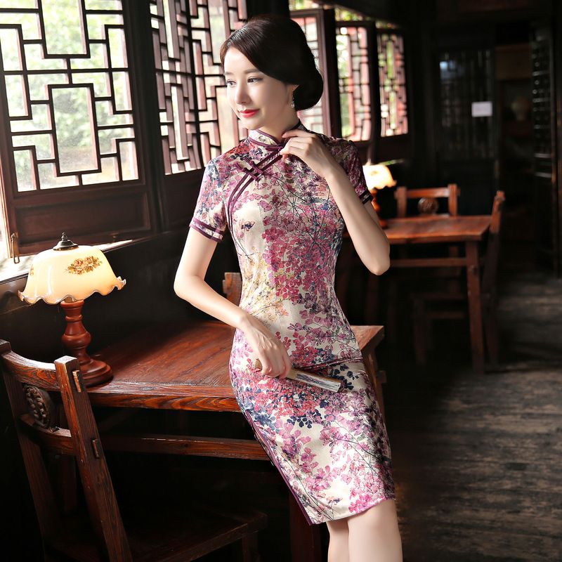 Velvet Dress Women Winter 2018 Flora Print Chinese Traditional Dress Short Sleeve Cheongsam Qipao Short Chinese Oriental Dresses