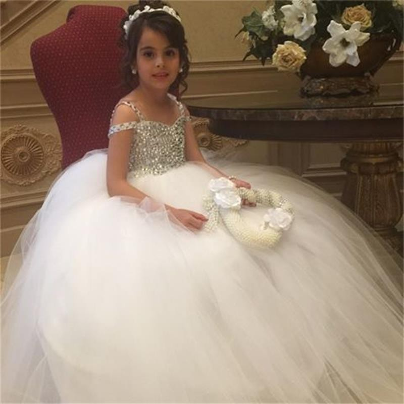 Bling Bling Crystals 2018 White Tulle for Girls First Communion Dress Ball Gown Long Child Pageant Prom Gowns Flower Girl Dress area rc alloy suspension arm for traxxas x maxx 1 5
