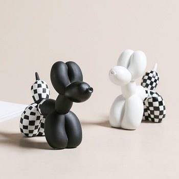 White Black Resin Balloon Dog Figurines furnishings Animal home living room decorations cute Crafts Drop shipping.jpg 350x350 - new-arrivals, collectibles, decor - Jeff Koons inspired Balloon Dog in Checker Board