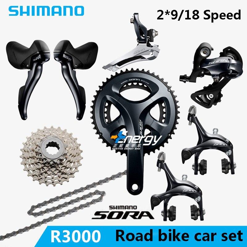 SHIMANO SORA R3000 2x9 18S Speed road car kit. Bicycle Crane Sprocket Kit Bicycle Parts Drive Kit gift Free Shipping cnc sprocket kit
