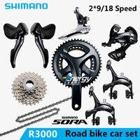 SHIMANO SORA R3000 2x9 18S Speed road car kit. Bicycle Crane Sprocket Kit Bicycle Parts Drive Kit gift Free Shipping