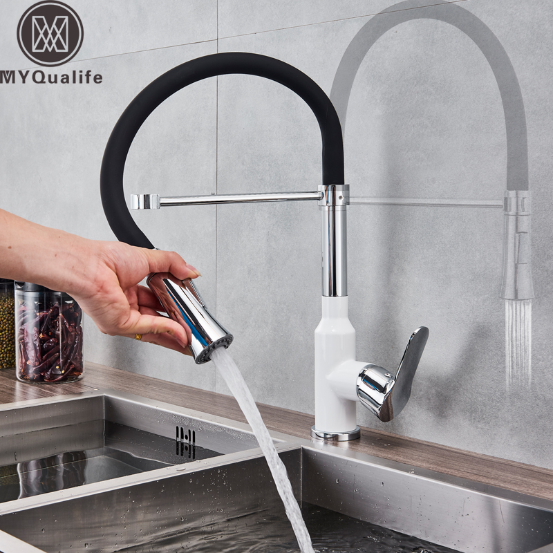 Chrome White Pull Down Kitchen Faucet Bathroom Vessel Sink Mixer Tap Deck Mounted Swivel Spout Stream Sprayer Kitchen Mixer Tap стоимость