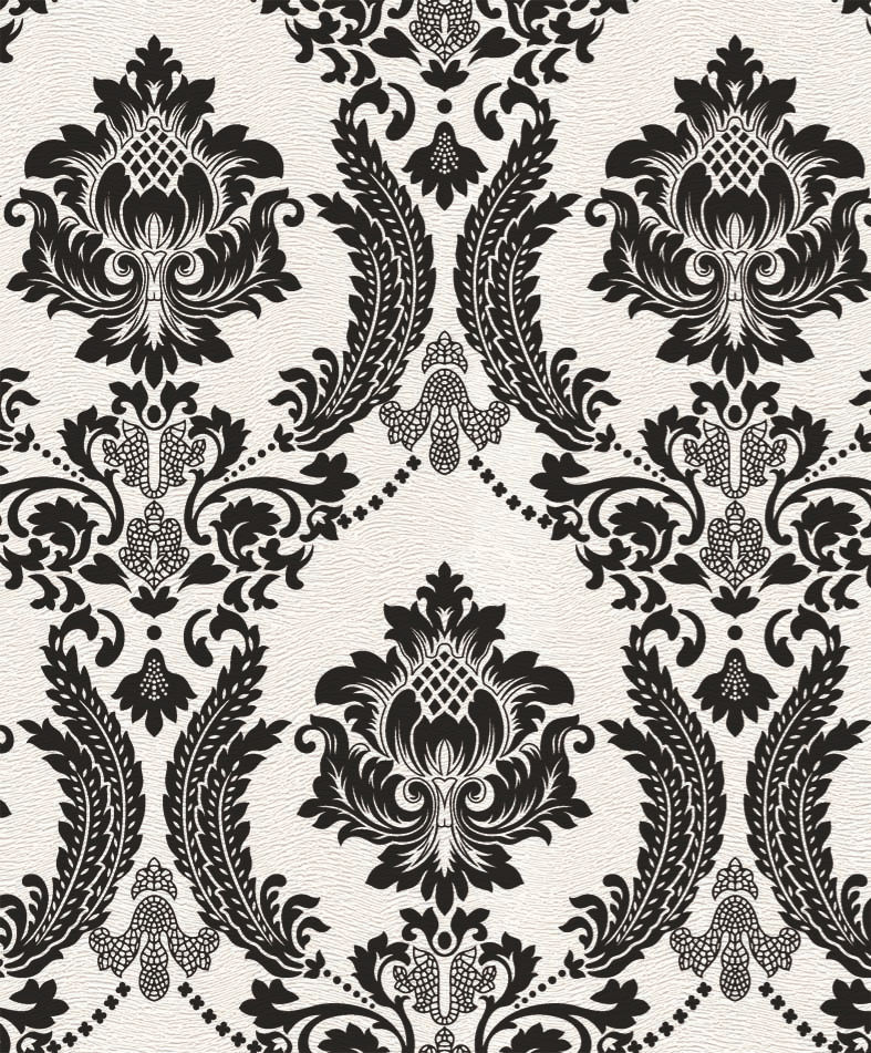 2016 New Design Black Vintage Damask Velvet Flock Wallpaper цена 2017