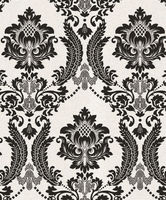 2016 New Design Black Vintage Damask Velvet Flock Wallpaper