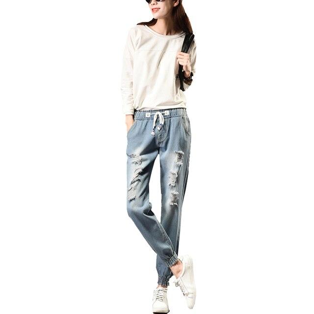 2017 Spring New Women Jeans Pencil Pants Plus Fat Size Slim Bodycon Holes High Waist Elastic Femme Female Denim Pants S-5XL