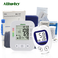 Athphy Health Care Set Blood Pressure Monitor + 50 Strips Blood Glucose Meter High Quality Drop Shipping