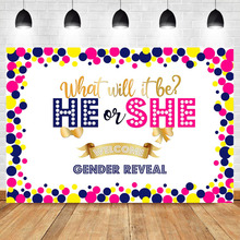 He or She Gender Reveal Backdrop Blue Pink Gold Photography Background Vinyl Party Banner Backdrops
