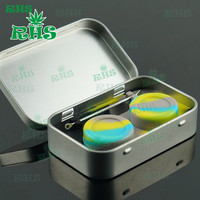 1sets Cosmetic Health Tin Kit Metal Wax Container Dab Wax Jars For Glass Smoking Pipe Silicone