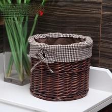 Rattan wicker basket desktop cloth storage straw small flower snack box sundries