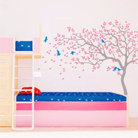 T06023 Eco friendly Birds Wall Stickers Vinyl Wall Decal Nursery Tree and Birds Wall Sticker Kids Bedroom DIY Home Decor Mural