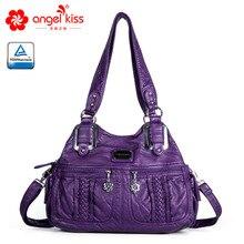Angelkiss Брендовая женская сумка из искусственной кожи высокого качества, модная женская сумка на плечо, одноцветная сумка с верхней ручкой