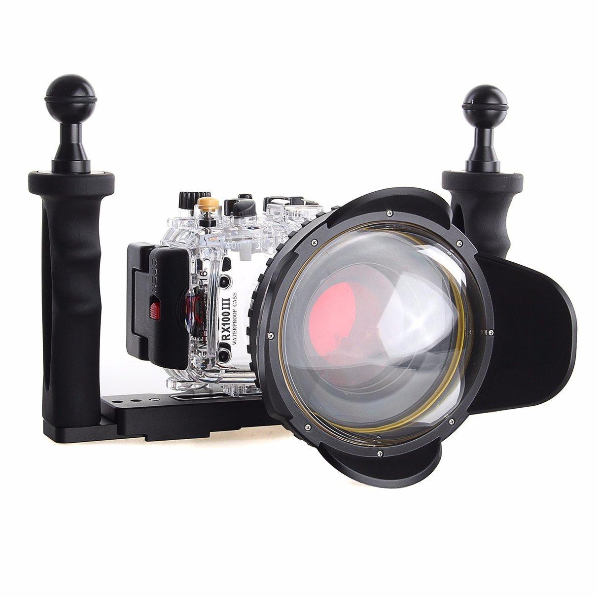 40 м/130f Водонепроницаемый подводный Корпус чехол для sony RX100 III + 67 мм красный фильтр + 67 мм рыбий глаз + две руки алюминиевый лоток
