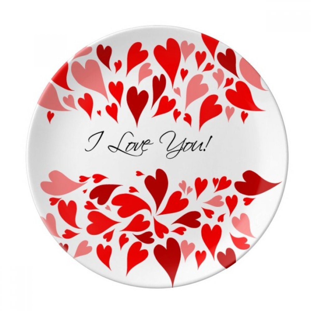 Valentine's Day I Love You Red Dessert Plate Decorative Porcelain 8 inch Dinner Home