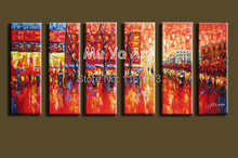 Large 6 muti panel Abstract modern canvas wall art  Palette Knife  handmade oil painting on canvas living room home decoration
