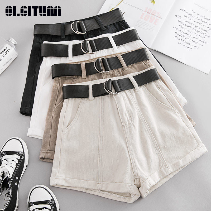 New Summer Women   Shorts   Casual Sashes Denim   Shorts   Women Wide High Waist Loose Leg   Shorts   Slim Sporting   Shorts   Female PT324