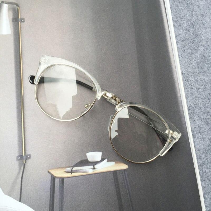 RBUDDY Fake Round Clear Glasses Halvrama Glasögon Transparent Ramar - Kläder tillbehör - Foto 5