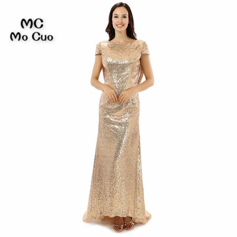 Robe Demoiselle D'honneur Elegant Bridesmaid Dresses 2017 Backless Cap Sleeve Sequined Wedding Party Dress Robe de Soiree