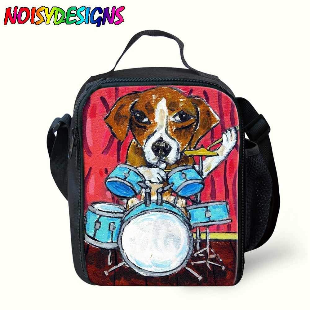 Us 15 0 40 Off Hot Dog Pattern Cooler Lunch Box Bag Beagle Insulated Messenger Bags For Kids S Boys Spring Travel Picnic In
