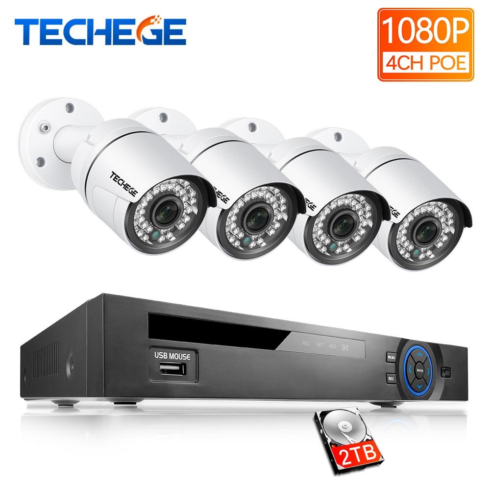 Techege 4CH PoE 1080 p NVR CCTV Système 2.0MP IP Extérieure Caméra HD 1080 p NVR Enregistreur Vidéo Caméra de Sécurité système de Surveillance