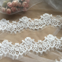 3 Yards/Lot Off White Bridal Veil Alencon Lace Trim , Floral Embroidery Chic Blossom Fabric for Wedding Accessory